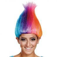 Rainbow Colored Licensed Adult Troll Wig